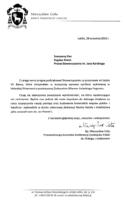 List biskupa Mieczysława Cisło po przyznaniu wyróżnienia Vir Bonus